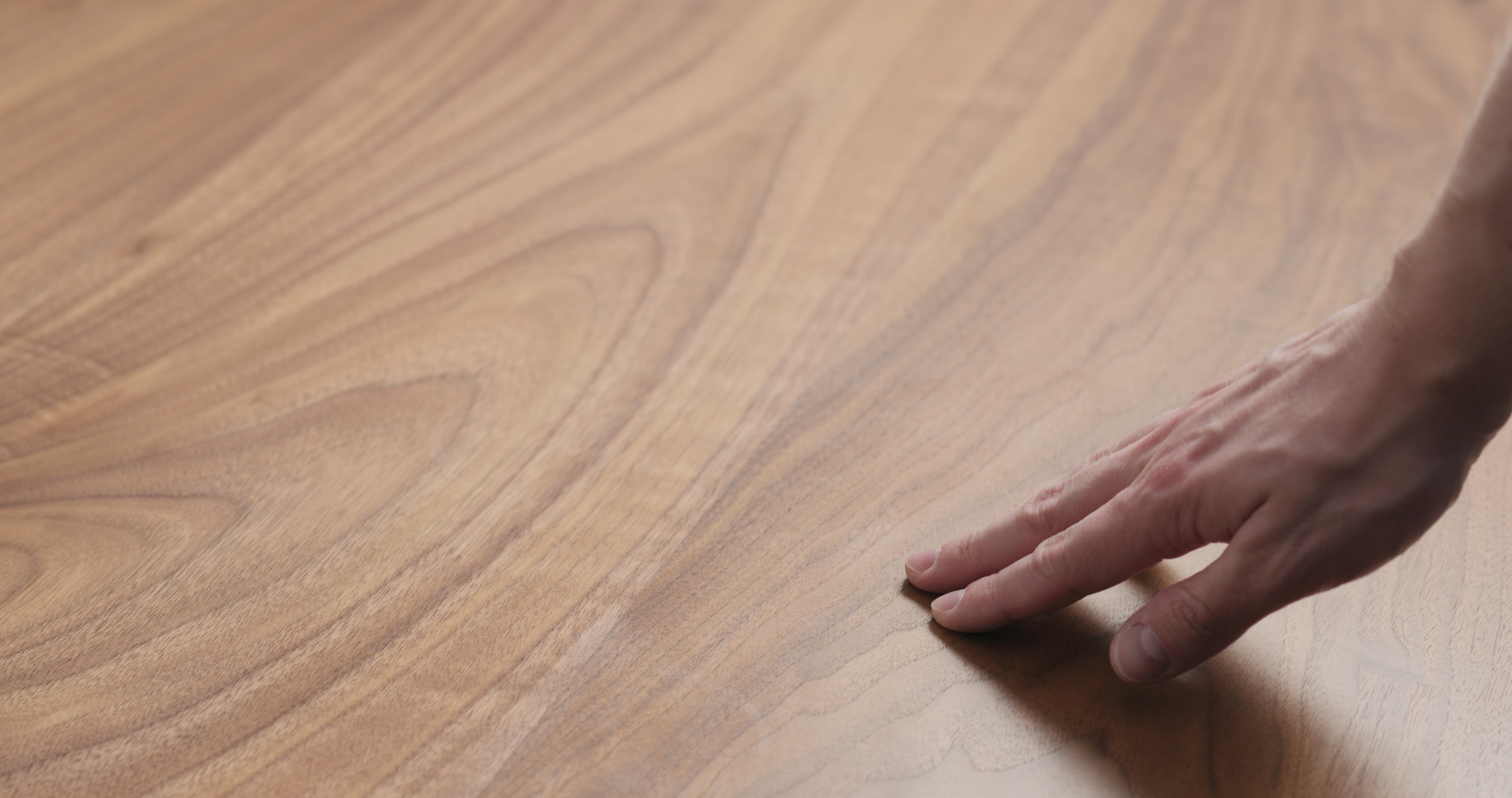 man hand touches black walnut dining table surface, wide photo